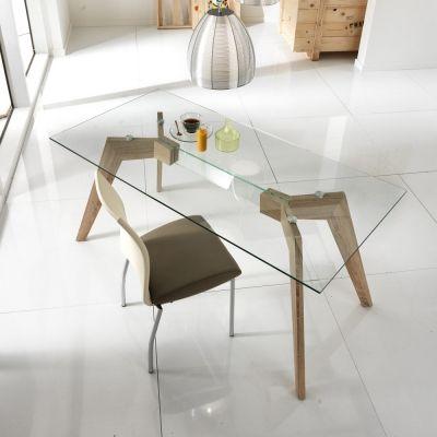 Tavolo da pranzo moderno in vetro e legno MDF Amos | Arredamento e ...