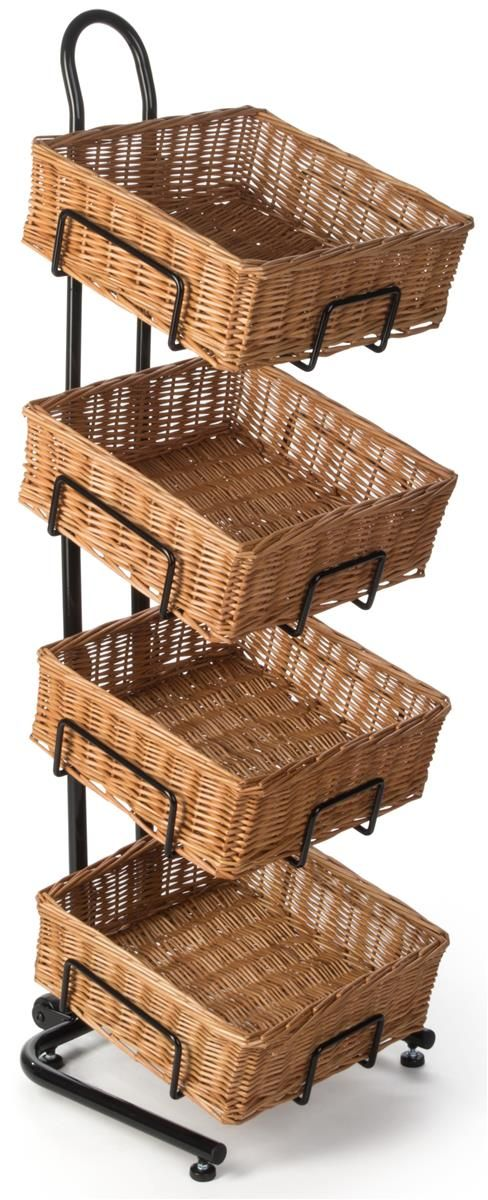 4 Tiered Basket Display Stand Brown Plastic Wicker Bins Height