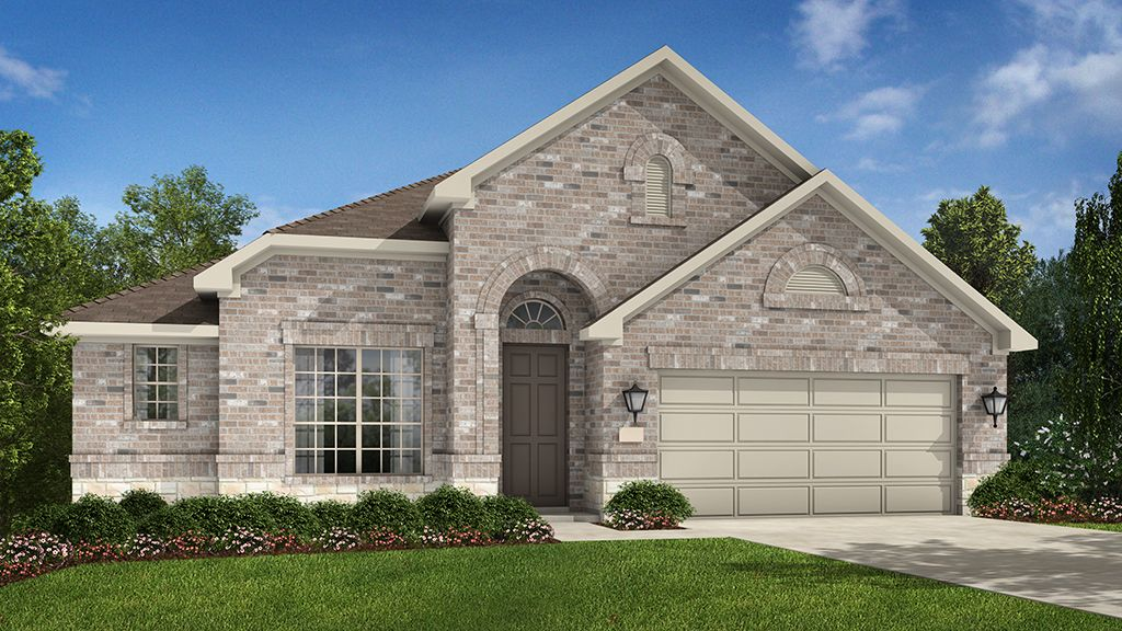 Sicily A Elevation by Taylor Morrison Crystal Falls Mesa Oaks. I like the color of the brick, nice front.