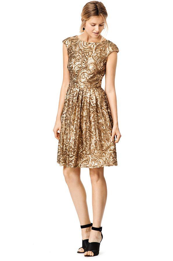 Badgley Mischka Golden Flower Dress | Gold Accents | Pinterest ...