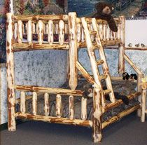 Amish Outlet Store Pine Twin Full Bunk Bed In Rustic Pine Met Afbeeldingen Hout Blokhut