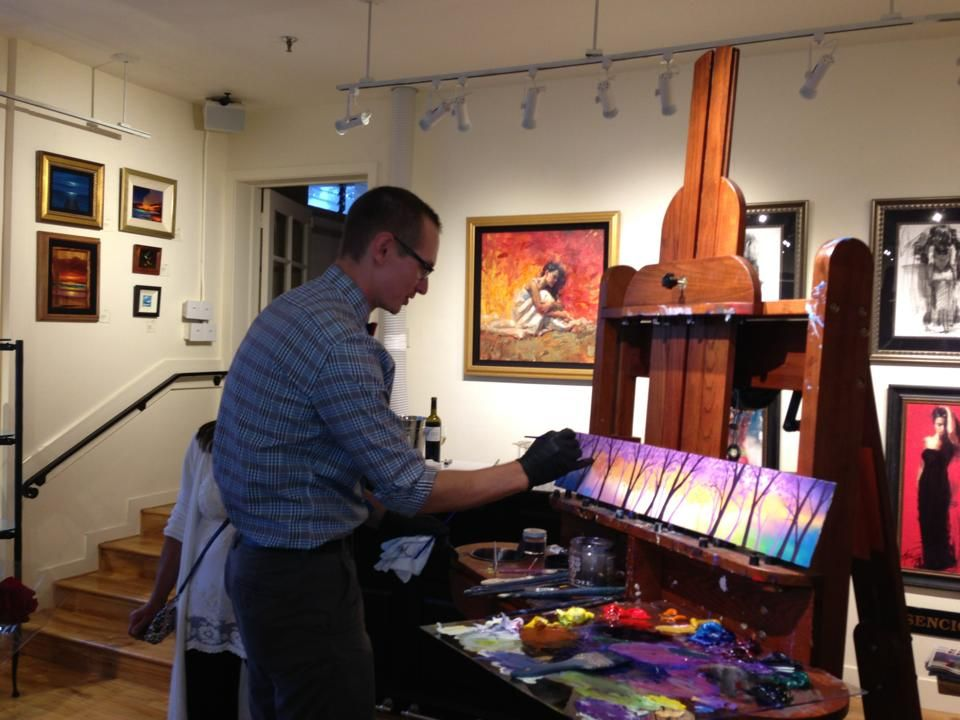 Daniel ryan paining at the 7th annual miniature show at