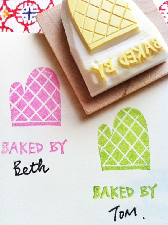 custom baked by stamp | personalized kitchen mitten stamp | hand carved rubber stamp for product packaging, card making | gift for baker