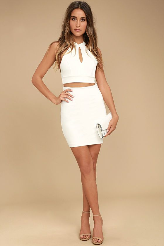 ae7bc69208 The Chic My Interest Ivory Lace Two-Piece Dress has put hearts in our eyes!  This sexy two-piece set is topped with a sleeveless