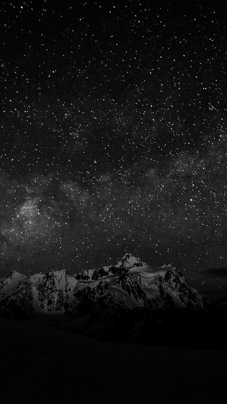 Nf71 Starry Night Sky Mountain Nature Bw Dark Iphone Wallpaper Sky Starry Night Sky Dark Wallpaper