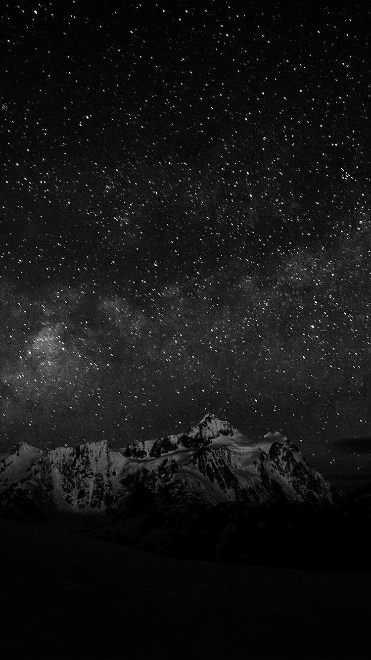 Starry Night Sky Mountain Nature Bw Dark Wallpaper Hd Iphone