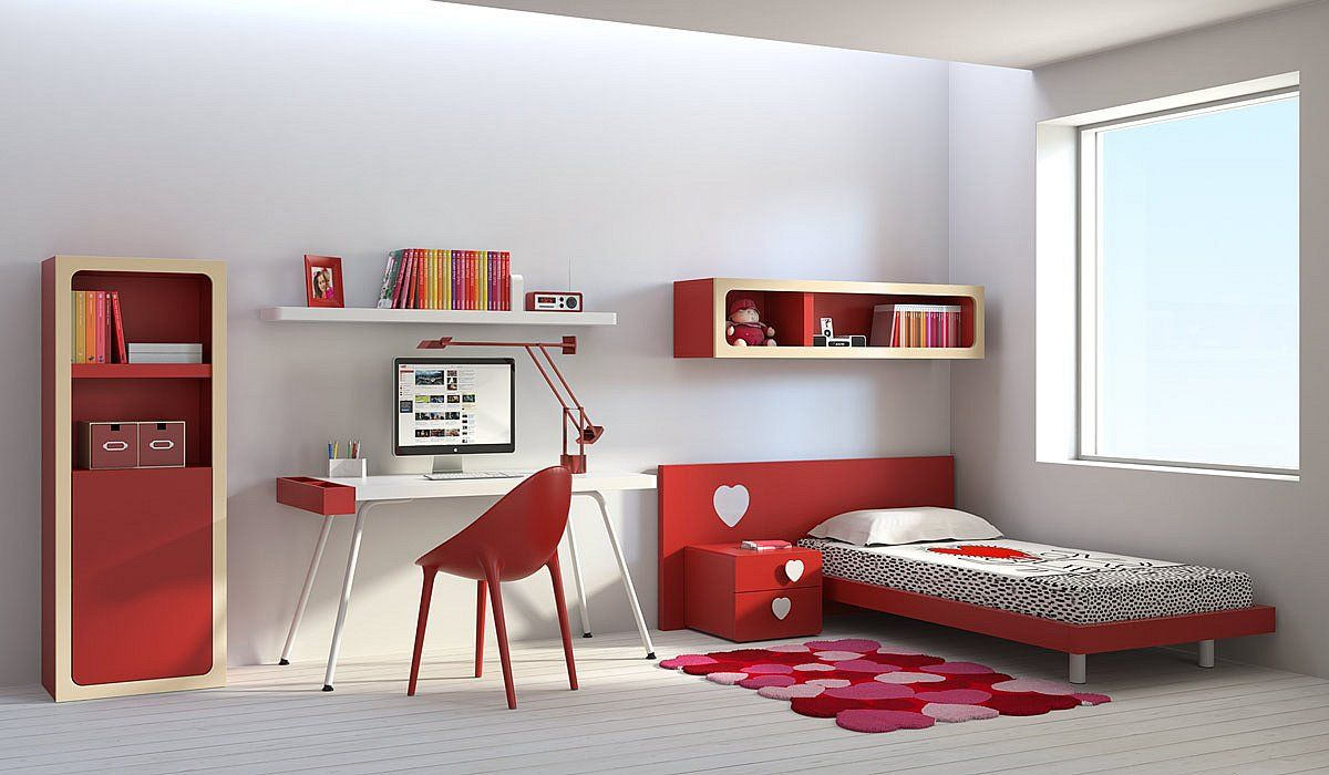 Muebles Juveniles De Colores Habitaciones Rojas Pinterest  # Muebles Juveniles