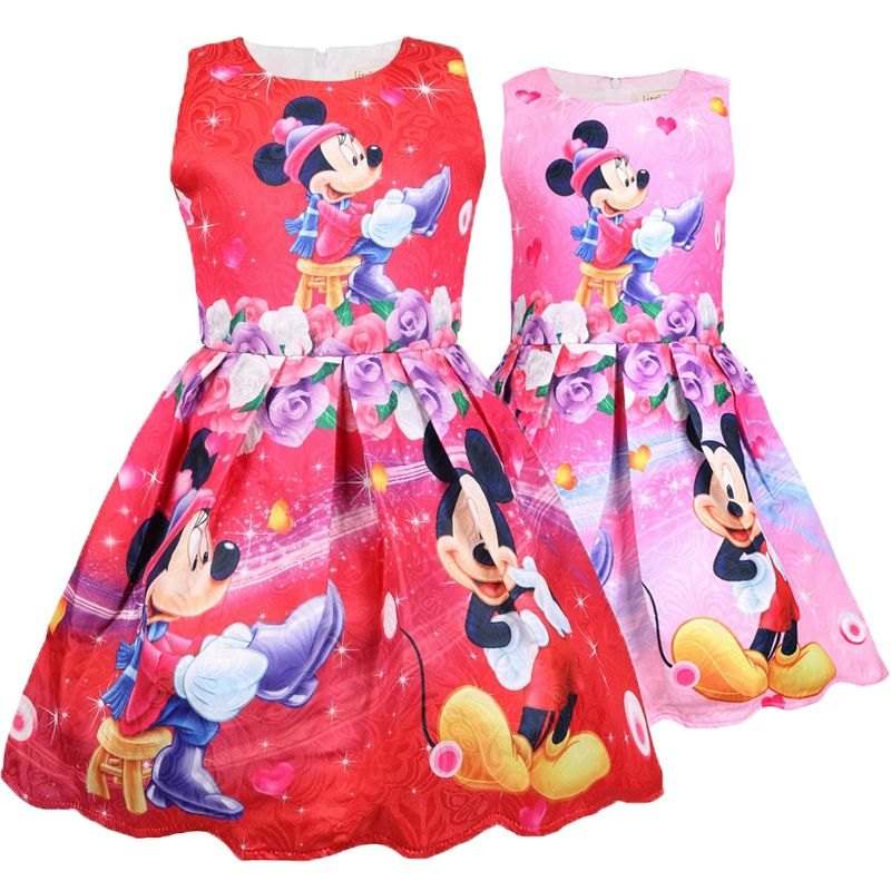 Summer Toddler Girls Kids Dresses Princess Baby Mickey Minnie Party Tops Dresses