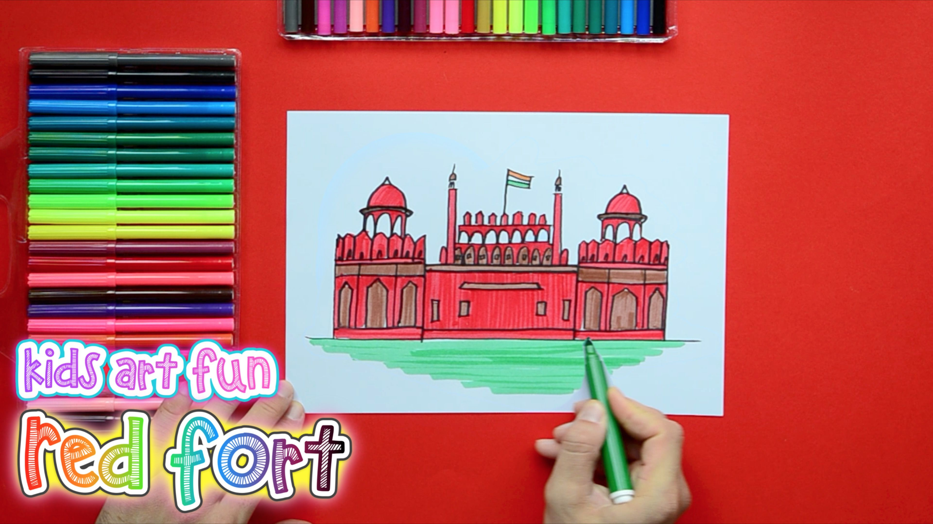 How To Draw And Color The Red Fort Delhi Lal Kila Red Fort