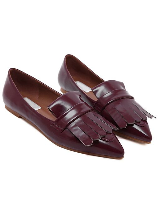 Wine Red Pointy Tassel PU Flats 30.90