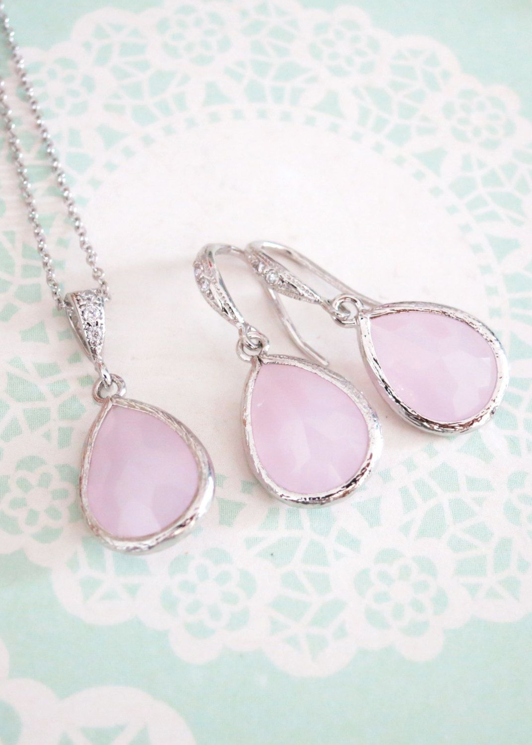 Pink Glass Teardrop Necklace Earrings Jewelry Set, gifts for her ...