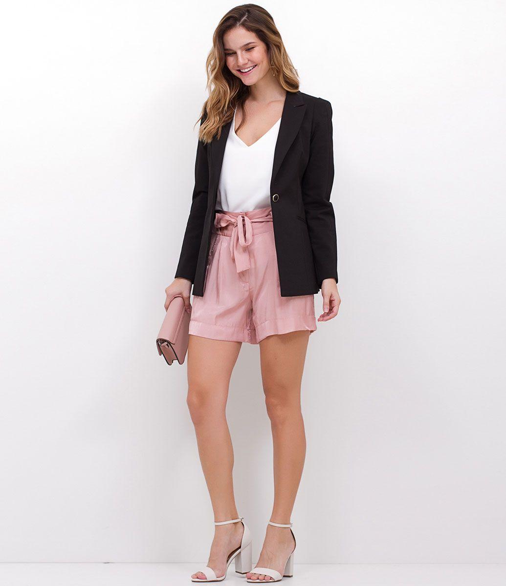 5a67798600 Blazer feminino Modelo Alongado Marca  A-Collection Tecido   algodão elastano Composição  51% algodão 46% Poliéster