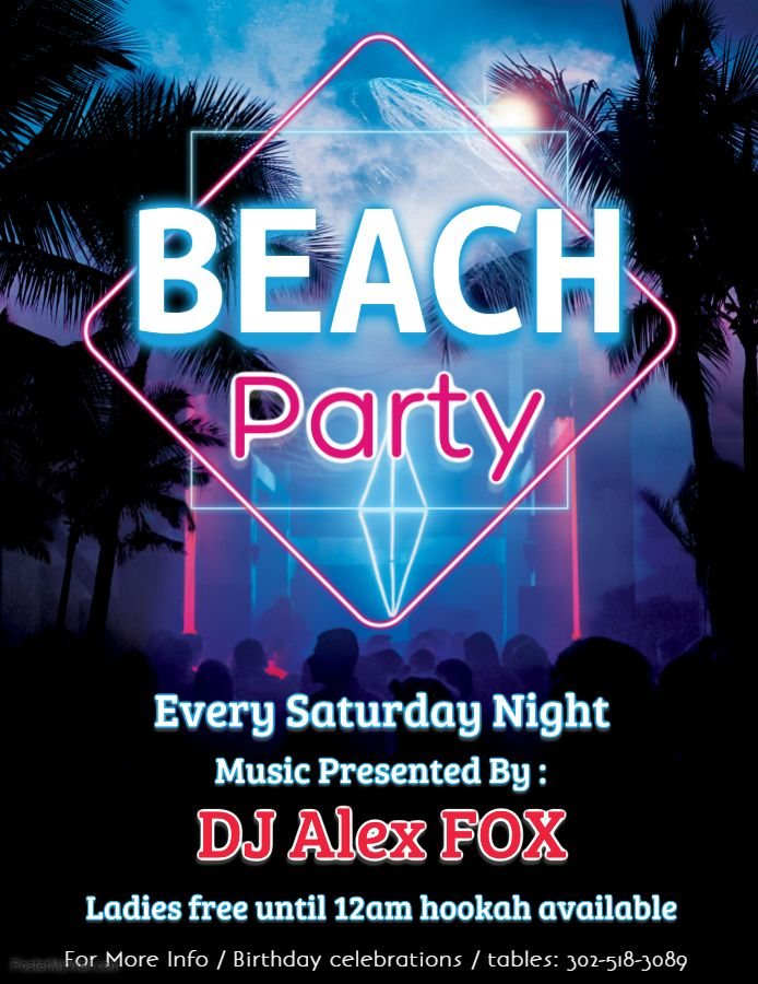 Beach party event flyer/poster design template | Pajama Party Poster ...