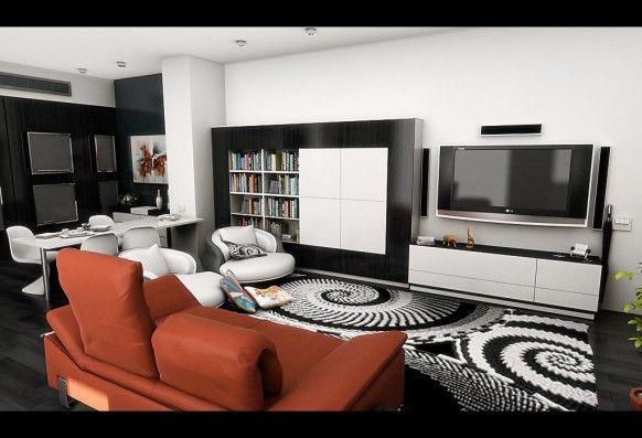 Modern Living Room Bold Area Rug Orange Sofa