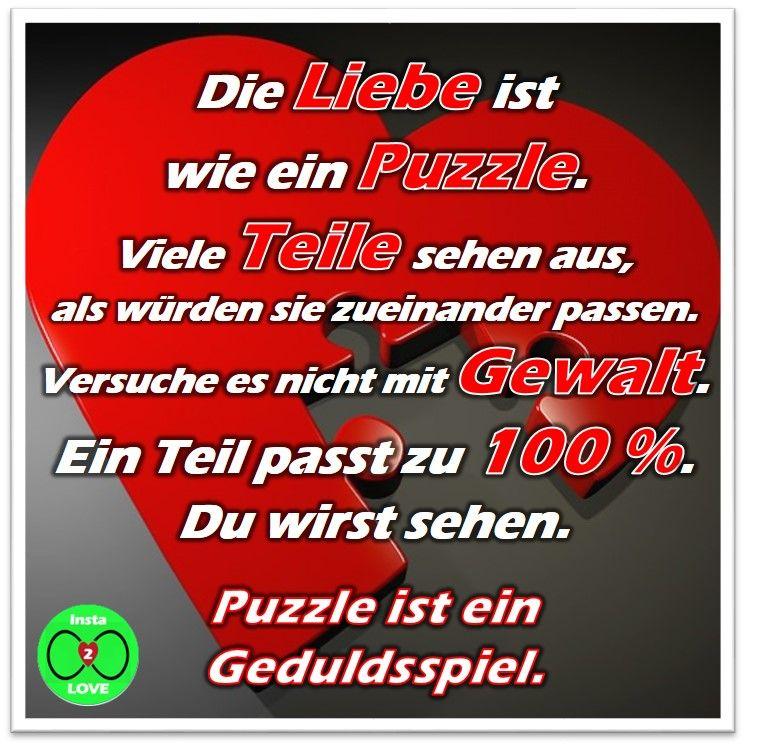 Spruch: Die Liebe ist wie ein Puzzle. Viele Teile sehen