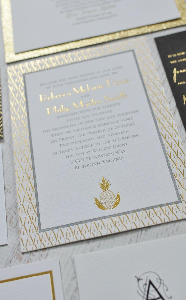 Sweet Surprise - Letterpress and Foil Invitation | Themed weddings ...