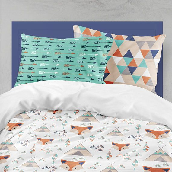 Twin Bedding Boy Fox Teepee, Toddler Bedding Boy, Twin Or Toddler Tribal  Comforter,