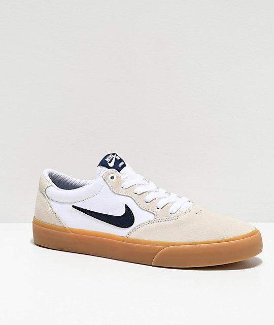 Nike SB Chron White & Gum Skate Shoes | Zumiez | Nike sb shoes ...