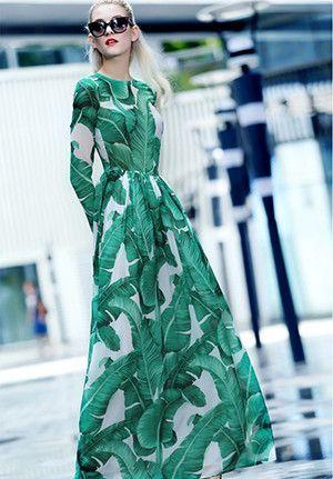 Fashion Runway Maxi Dress Autumn New Women's High Quality Long Sleeve Print Banana leaf Gerrn Casual Long Dress