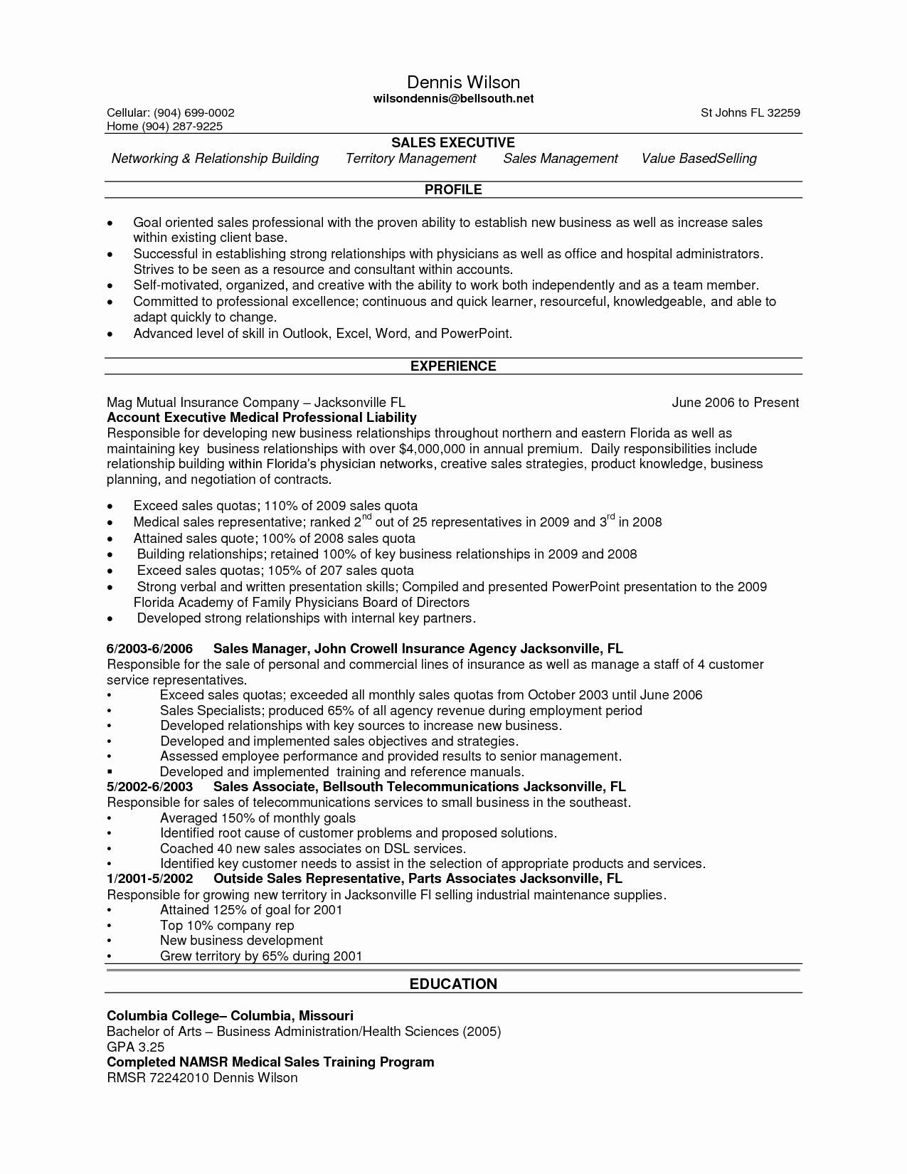 Sales Rep Resume Summary