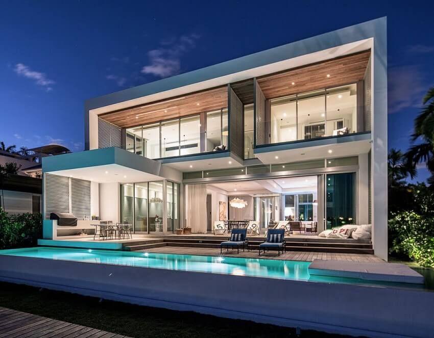 Casa minimalista con piscina arquitectura pinterest for Piscinas modernas minimalistas