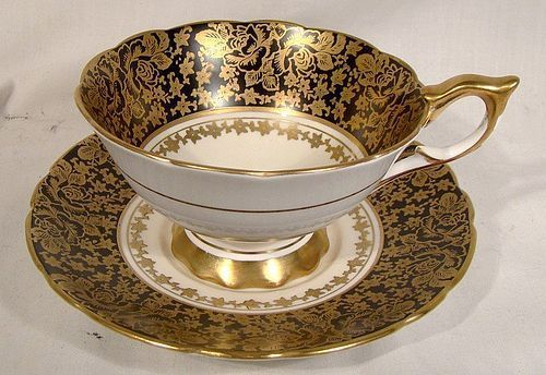 Royal Stafford Black & Gold Roses & Asters Brocade Cup & Saucer 1950s