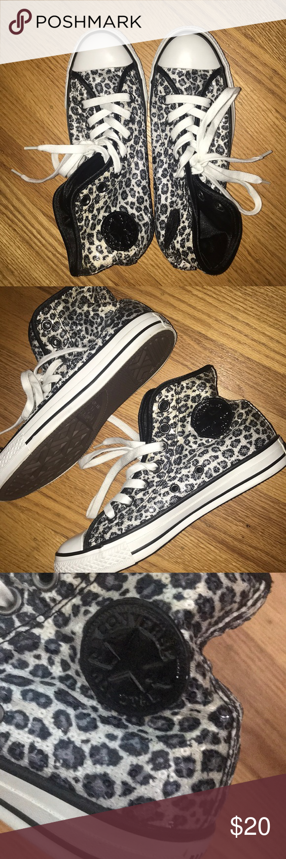 9bdeacf317c34f Converse Leopard Print   Sequin High Tops Only worn once