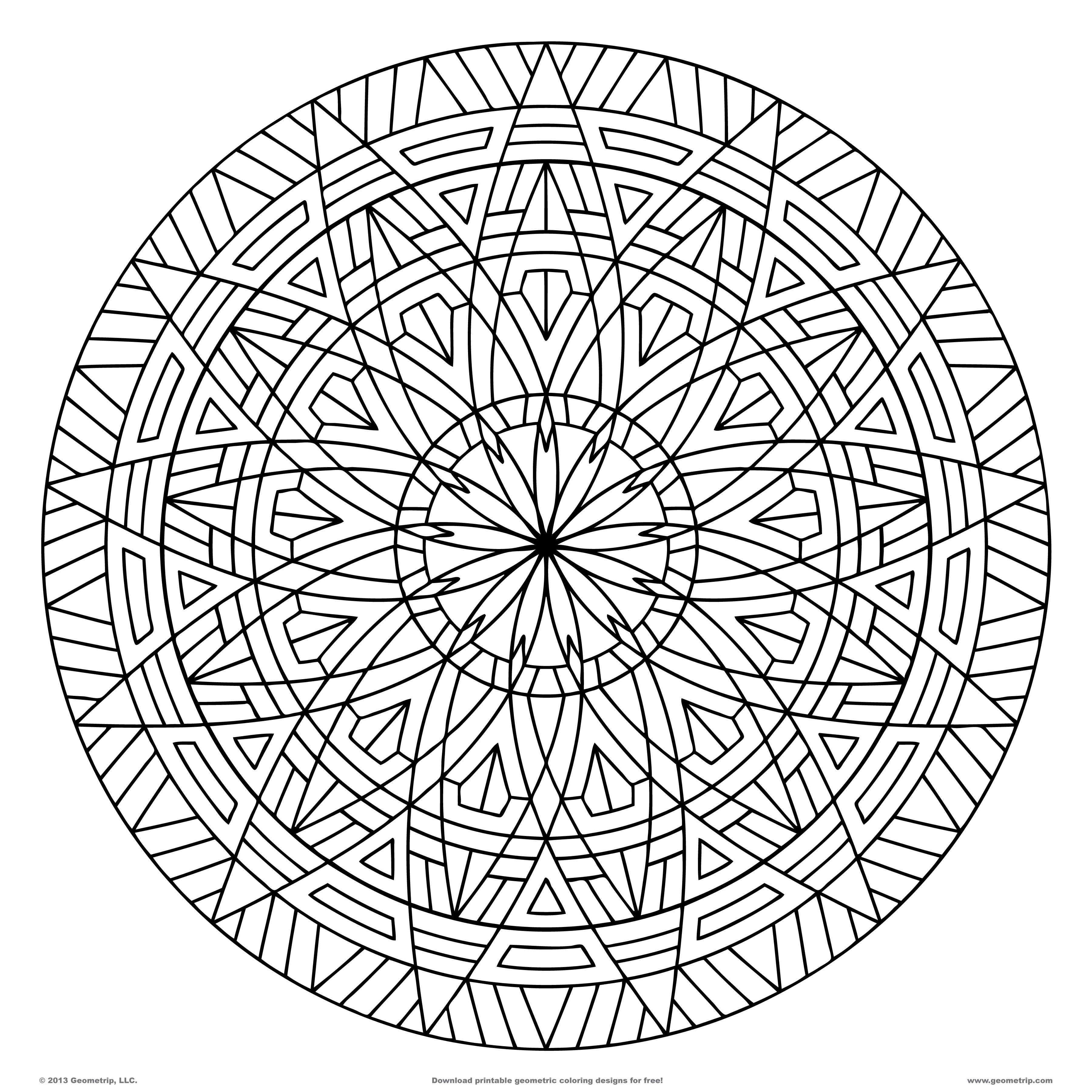 images of printable hard geometric coloring pages geometripcom free geometric coloring designs - Cool Coloring Pages To Print For Free