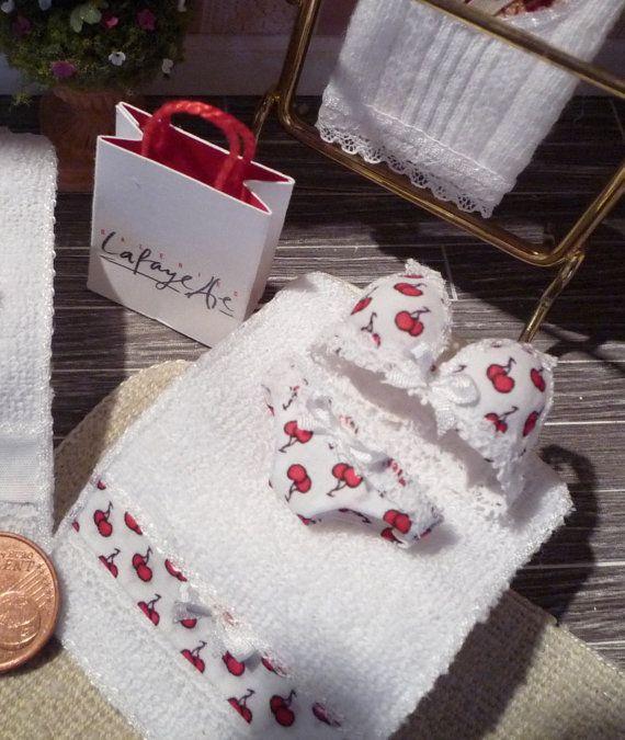 Coordinato intimo ed asciugamano in scala 1:12 di MiniatureFashion