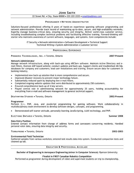 Resume Of Network Administrator Pin By Resumetemplates101 Com On Information Technology It