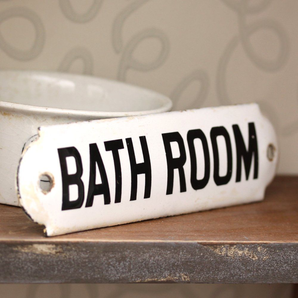 Antique Enamel Bathroom Sign Sold Sinks Soaps And
