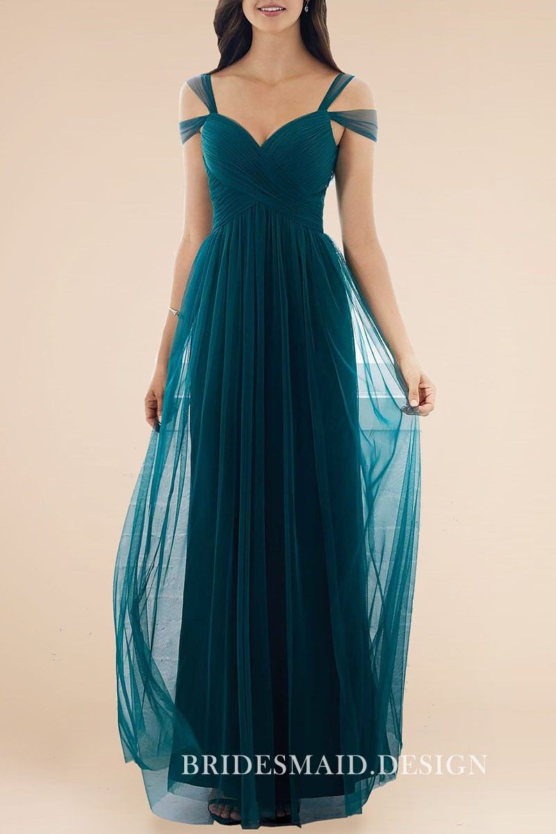 d1a686415def Dark Teal Tulle Feminine Strapped Off-the-shoulder Sweetheart Bridesmaid  Dress