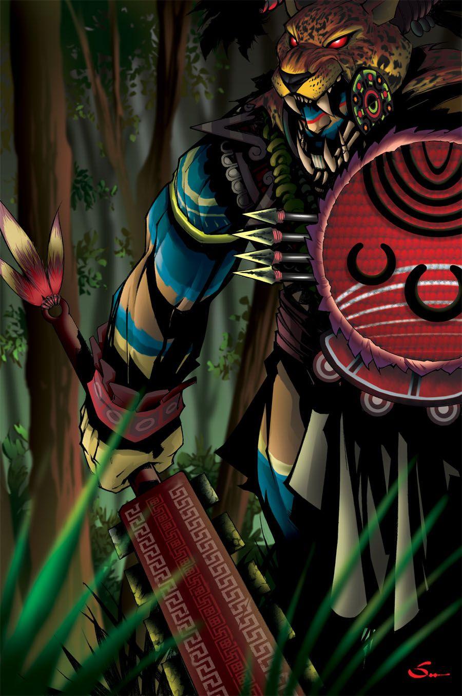 Jaguar Warrior Color Aztec Art Aztec Warrior Maya Art