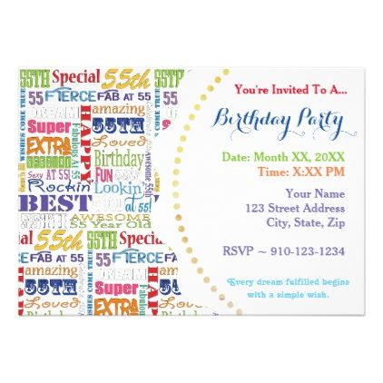 Unique And Special 55th Birthday Party Gifts Card Party gifts - best of sample invitation to birthday party