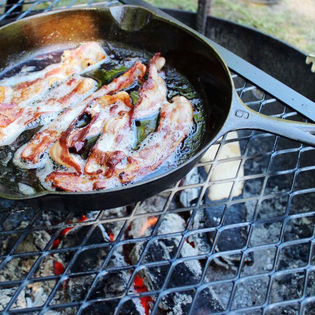 cast iron bacon on the campfire   Midwest adventures   la petite farmhouse