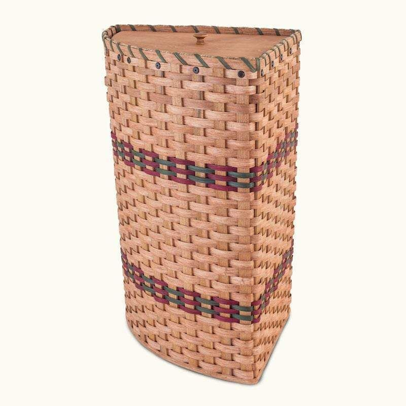 Large Amish Wicker Corner Laundry Hamper Basket With Lid