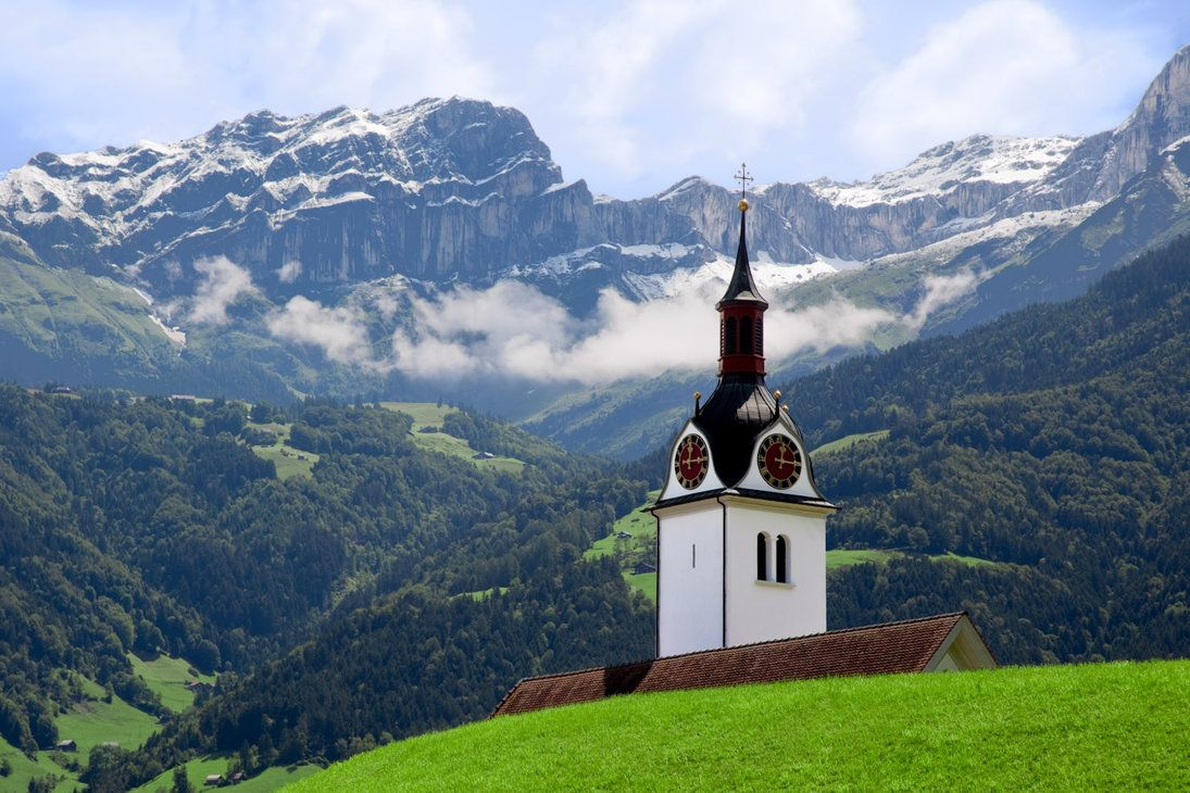 The Swiss Alps | Steeple in the Swiss Alps by ~ZingZama on deviantART