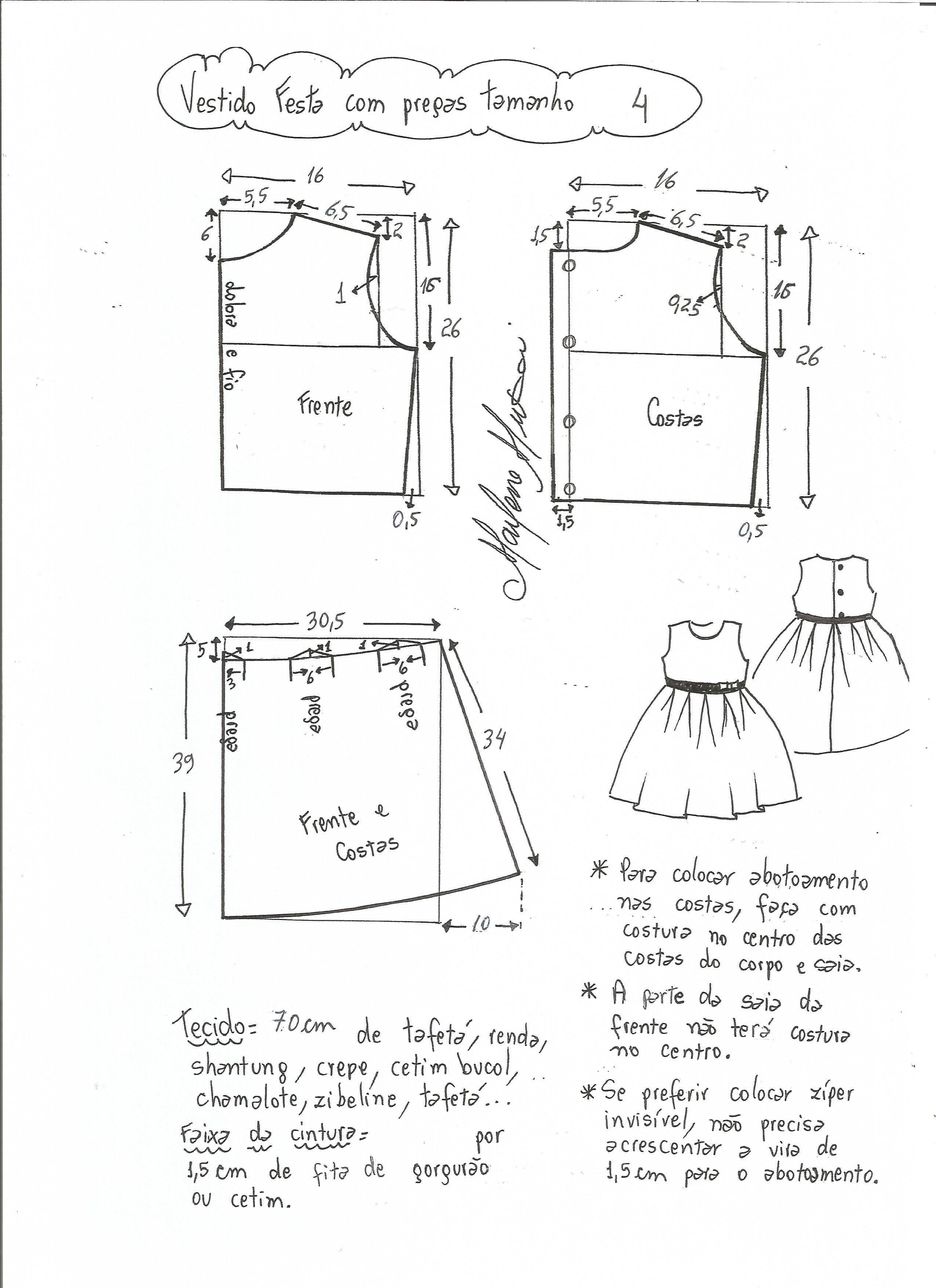 cf9979ee1 Patrón de vestido de fiesta para niña con la falda plisada. Tallas desde 1  año a 14 años.