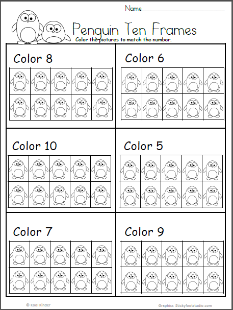 Penguin Ten Frame Free Math Worksheet For Kindergarten Madebyteachers Free Math Worksheets Kindergarten Math Worksheets Kindergarten Worksheets