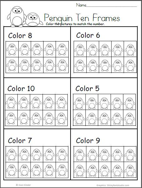 Penguin Ten Frame Free Math Worksheet For Kindergarten Madebyteachers Free Math Worksheets Kindergarten Math Worksheets Math Worksheet