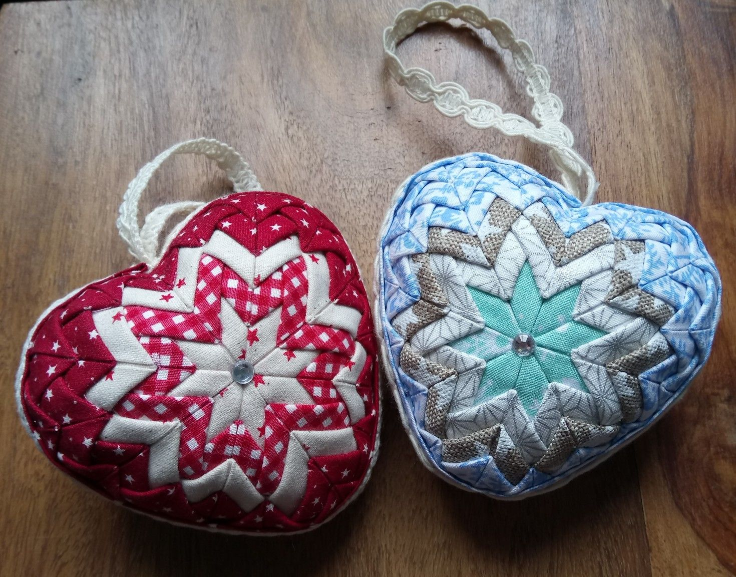 Heart Shaped Quilted Baubles Fabric Christmas Ornaments Fabric Ornaments Folded Fabric Ornaments