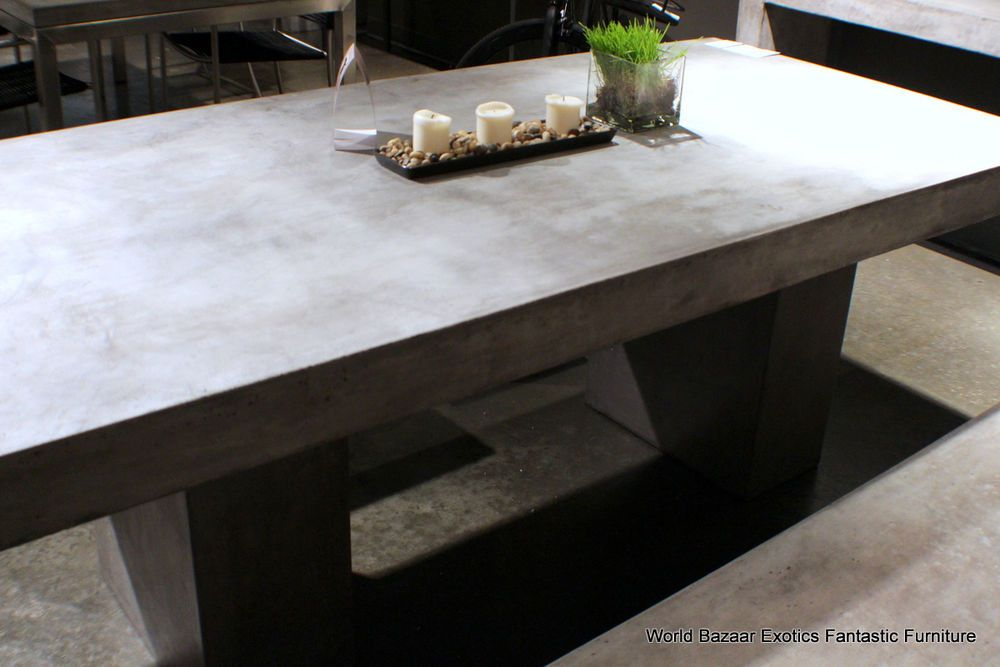 "71"" L dining table desk solid concrete cement modern"