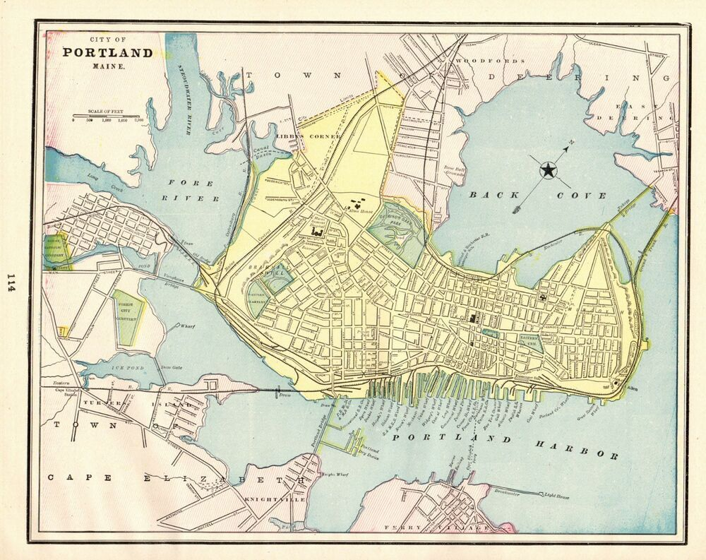 portland me street map 1892 Antique Portland Maine Map Collectible Map Of Portland portland me street map