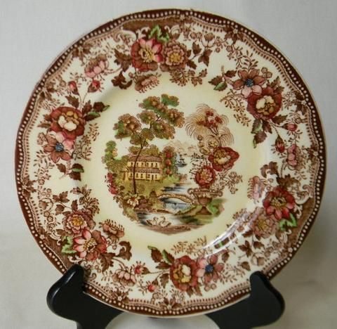 Vintage Brown Polychrome Transferware Toile 8  Salad Plate Tonquin Cottage Swans and Roses & Vintage Brown Polychrome Transferware Toile 8