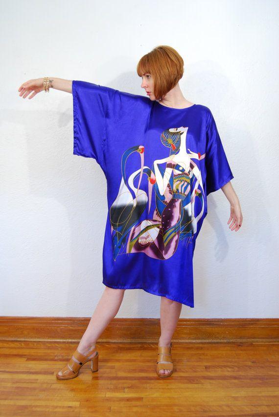New! Vintage Art Deco printed cobalt blue kimono dress  vintage 1980s / Erte style dress / kimono dress / cobalt by YeYe, $56.00