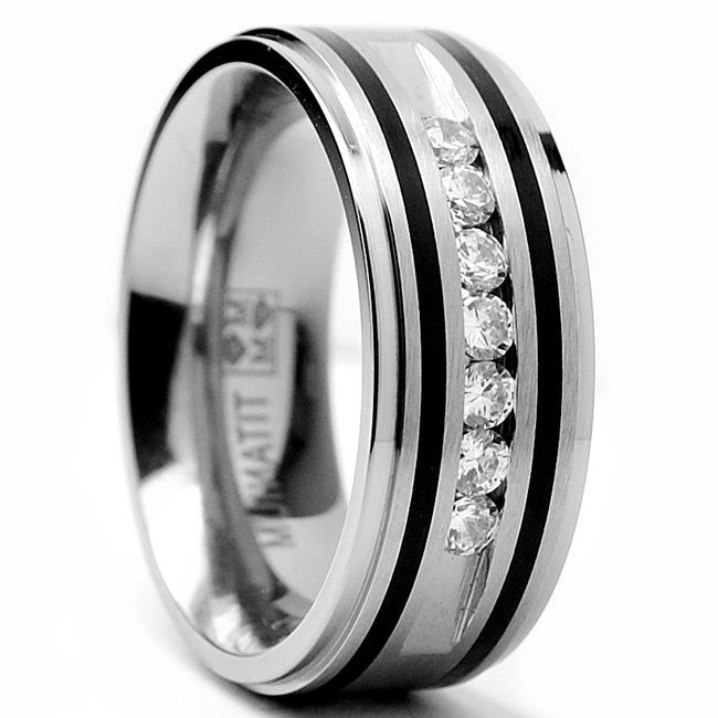 Oliveti Titanium Mens Ring With Resin Inlay And Cubic Zirconia 9mm