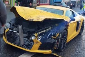 WATCH: Shocking footage shows car flying into the air after being hit by Audi R8 supercar in Bradford
