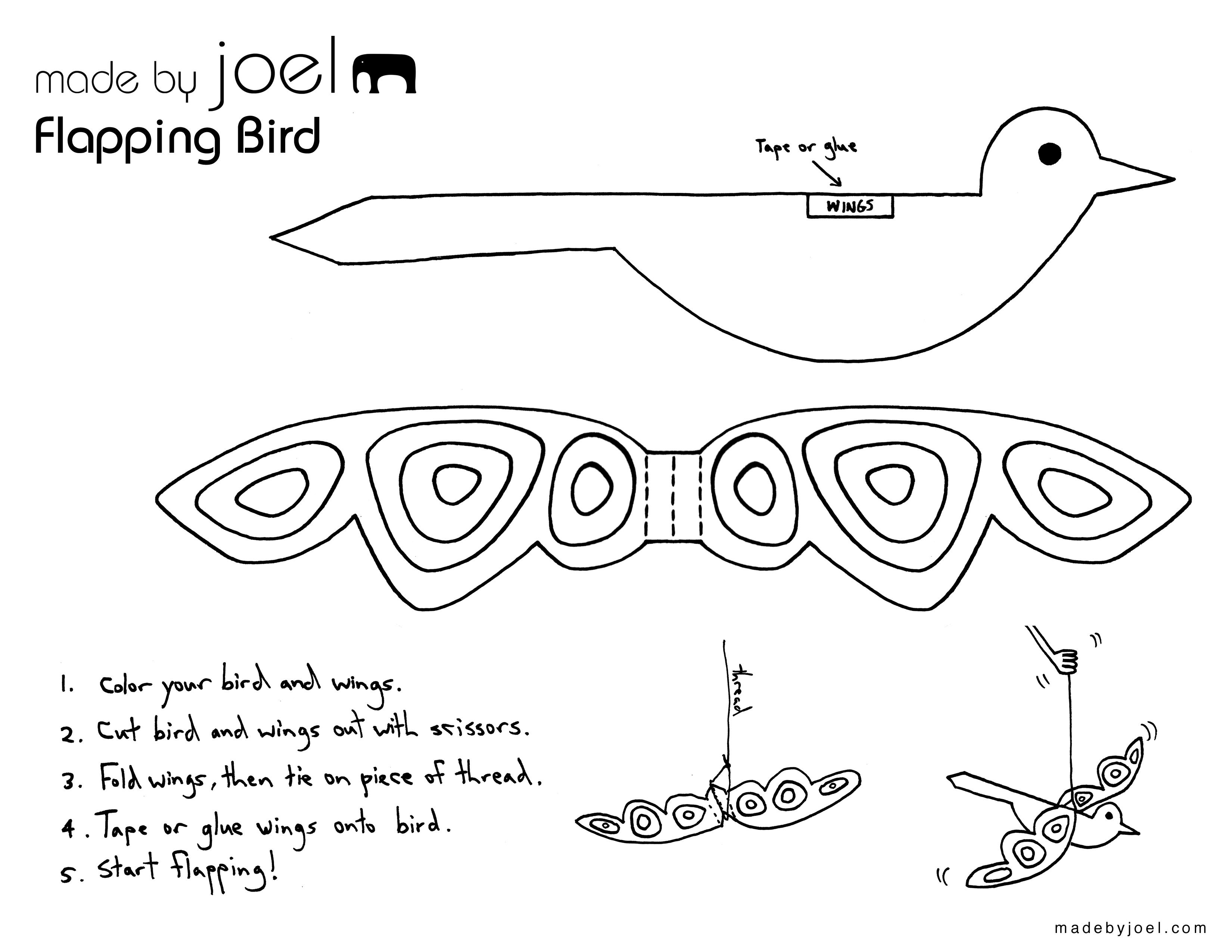 Flapping Paper Bird Toy (Made by Joel) | Paper birds, Bird ... - photo#49