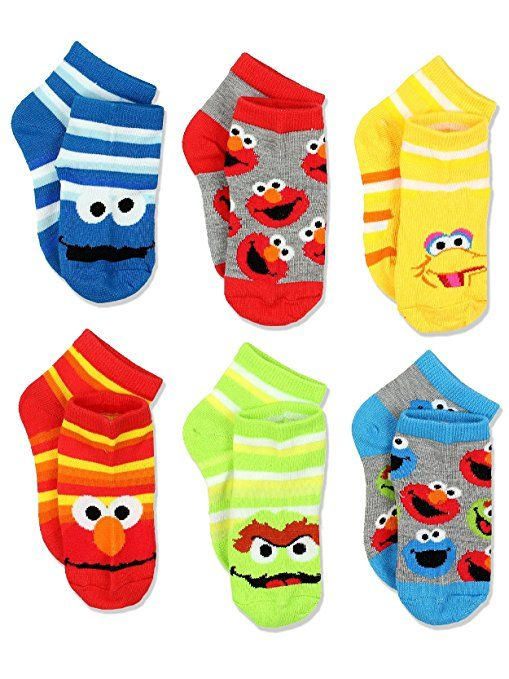 Sesame Street Boys Multi Pack Socks Stripes Quarter 6 Pk Cookie Monster Elmo Big