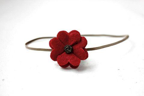 Cranberry Red Felt Petals Fabric Flower Headband